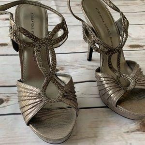 Adrianna Papell Metallic Grey Jeweled Heels